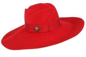 d68674ed NEW GUCCI LADIES RED LAPIN FELT TIGER HEAD FEDORA BUCKET HAT 56/S   eBay