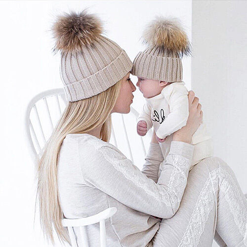 KM_ Kids Baby Boys Girls & Mom Hat Set Knitted Winter Warm H