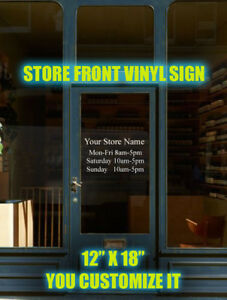 92818a0ac5dd8 Details about Custom Business Store Hours Sign Vinyl Decal Sticker 12
