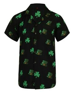 St-Saint-Patricks-Dia-Camisa-Hawaiana-Loud-para-hombre-Hawaii-Stag-Fiesta-Aloha-irlandes-UK