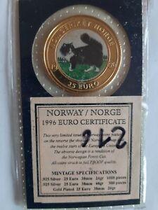 SUPER medaille 25 euro couleur 38 mm 20 grammes plaqué or 1996