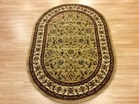 Oval Cream Beige Traditional Persian Oriental Design Easycare Rug120x170cm -50%