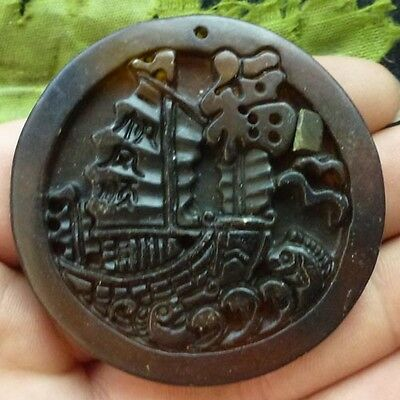 QY22300 Beautiful carved Chinese Old jade pendant bead