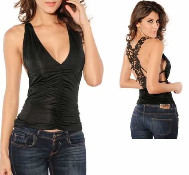 Sexy Exotic Black Low Cut Tank Top Lace Open Back Tight V Neck Club Wear Shirt