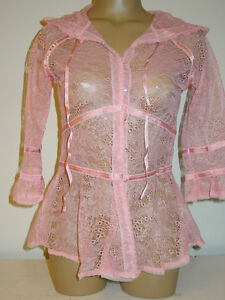 4d3f4ac9feca7 Pleasure State pink all lace sheer hoodie rhinestone buttons satin ...