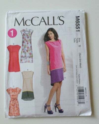 NEW McCalls pattern M6551 4 Easy Misses/' Summer Dresses w//belt Size Xsm-Sm-Med