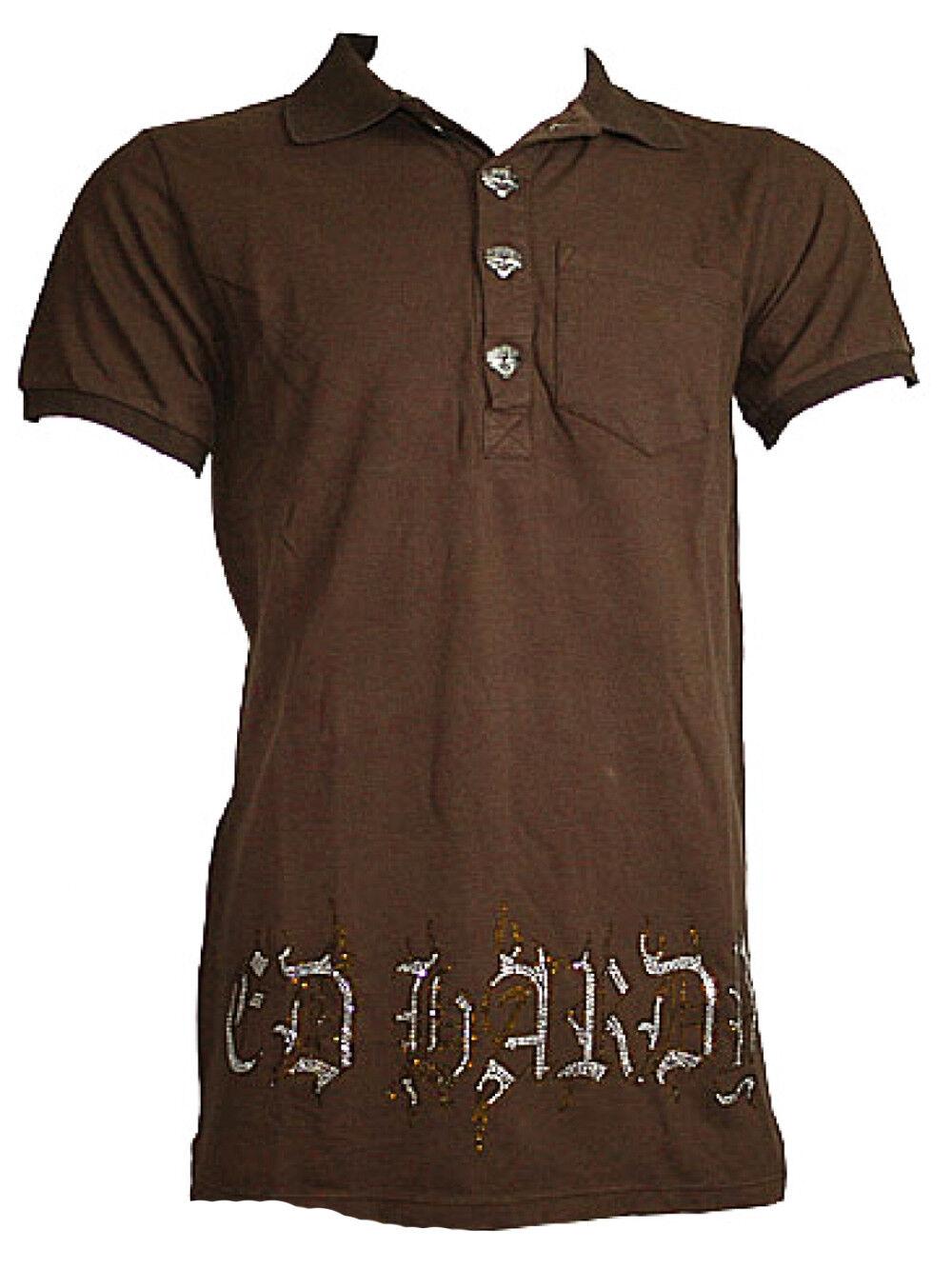 Ed Hardy by Audigier Men Rhinestone Polo Shirt   skullpink   Brown NEW