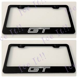 2X 3D Mustang Emblem GT 350 Stainless Steel License Plate Frame Rust Free