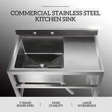 1 Compartment Stainless Steel Restaurant Prep Sink Prep Sink Utility Drain Board
