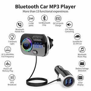 Bluetooth-5-0-Handsfree-Car-Kit-FM-Transmitter-MP3-Player-amp-USB-Fast-Charger-AUX
