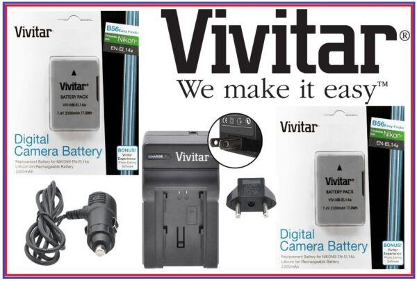 2300mah 2 Pièces En-el14a Batterie & Chargeur Pour Nikon Coolpix P7000 P7100 Couleurs Fantaisie
