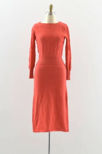 Vintage 1930s 1940s Coral Wool Knit 🧶 Set Cable S