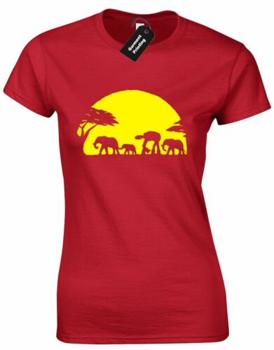 STAR SUNSET JEDI WARS LADIES T SHIRT RETRO AFRICA ELEPHANT SCI-FI JOKE JEDI WALK