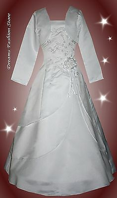 Kommunionkleid/ Blumenmädchen *Paula * in weiß inklusive Bolero u. Reifrock