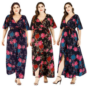 Women-Boho-Floral-Long-Maxi-Dress-Kaftan-Holiday-Beach-Party-Sundress-Plus-Size