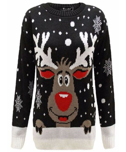Unisex Ugly Christmas Bambi Fiocco di Neve Natale Lavorato a Maglia Maglione Pullover Pullover Tops