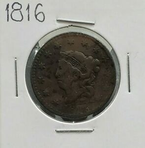 1816 Coronet Liberty Head US Large Cent 1c Fine DETAILS Circulated Condition
