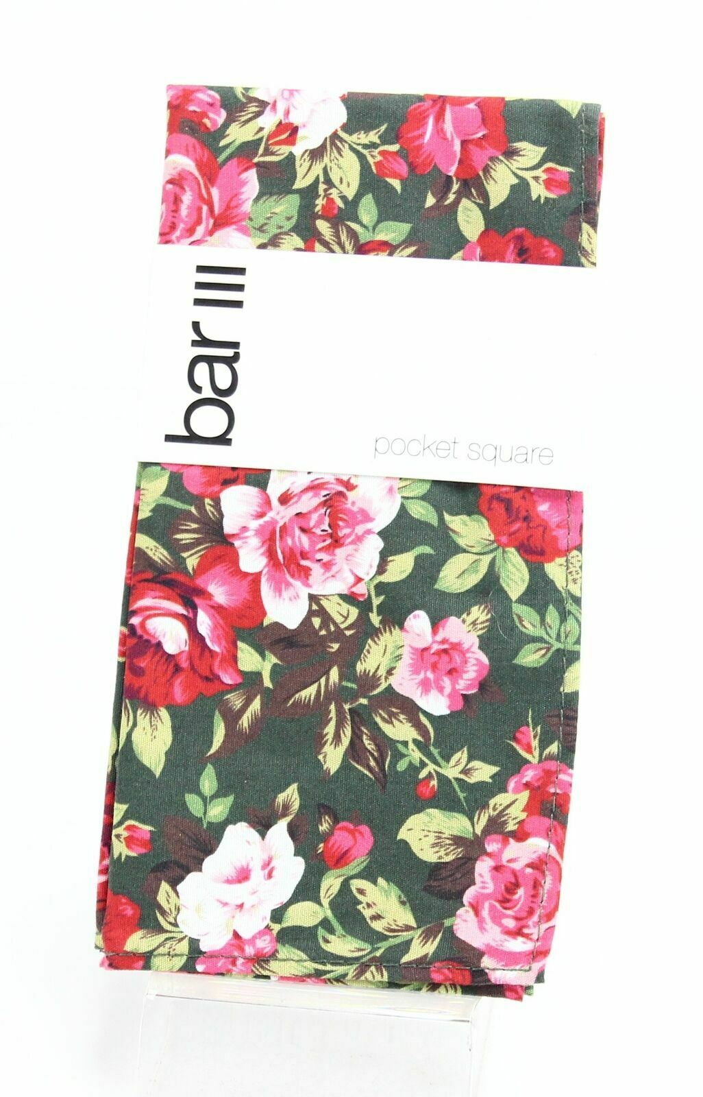 Bar III Men's Pocket Square Green Pink Carson Floral Print Accessory #584