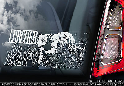 Whippet Lurcher Racing TYP2 Greyhound Car Window Sticker Dog on Board Sign