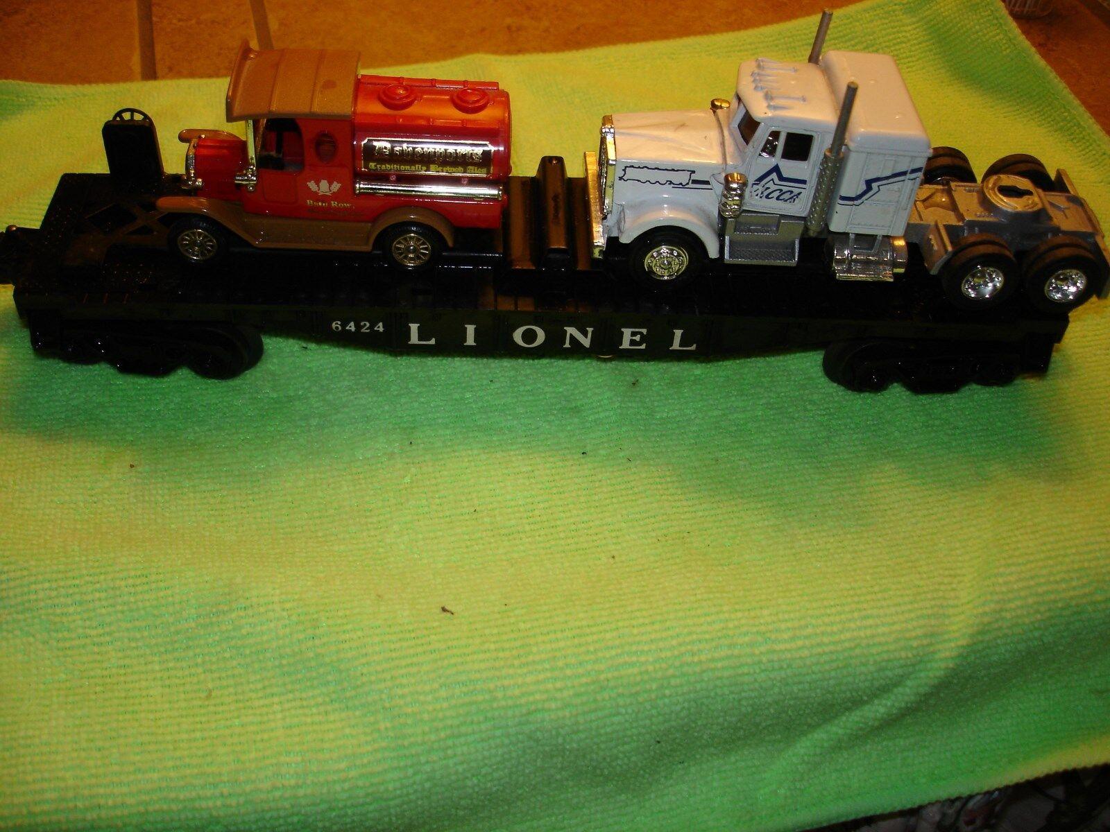 Lionel de posguerra 6424 2 Auto Coche plana con 2 - 6511-2 Molde de Cochega de camión