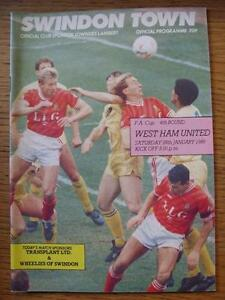 28011989 Swindon Town v West Ham United FA Cup   Any faults with this item - Birmingham, United Kingdom - 28011989 Swindon Town v West Ham United FA Cup   Any faults with this item - Birmingham, United Kingdom