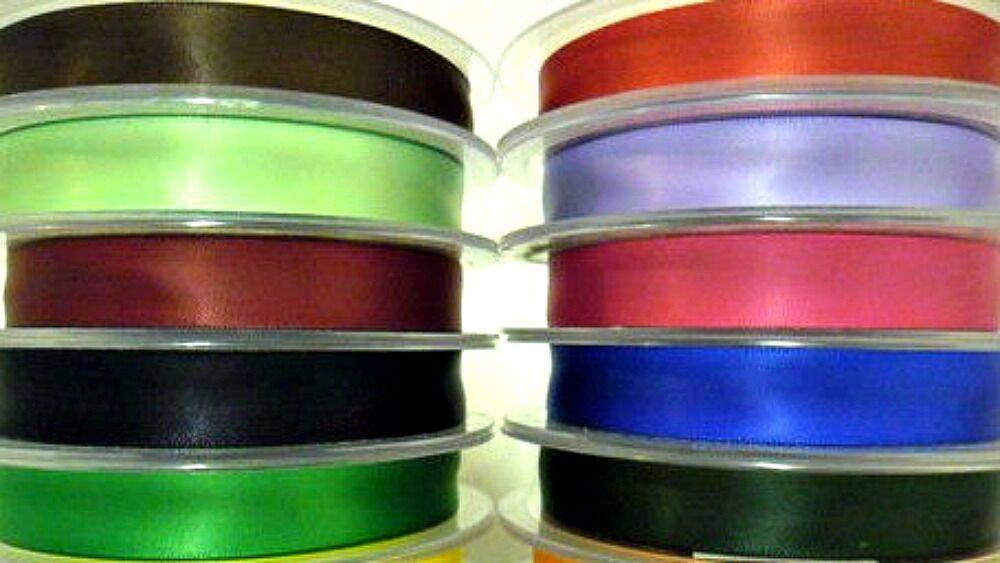 Listón Satinado Doble Cara, 15MM, Varios Colores, 25MTR / Rollo