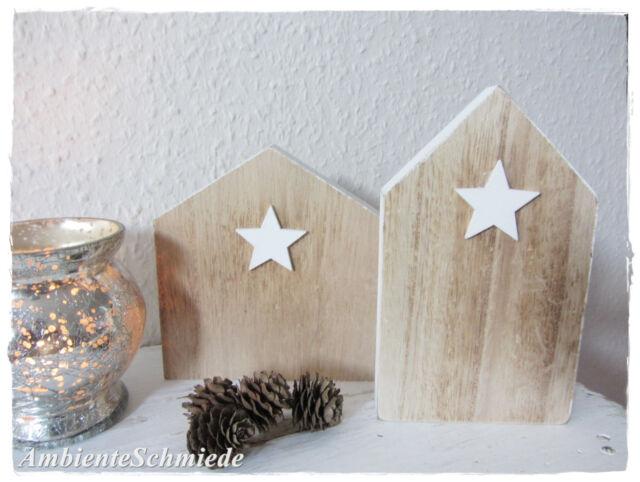 2er Set Holzhaus Deko HAUS Stern Weihnachten Landhaus skandinavisch Scandi