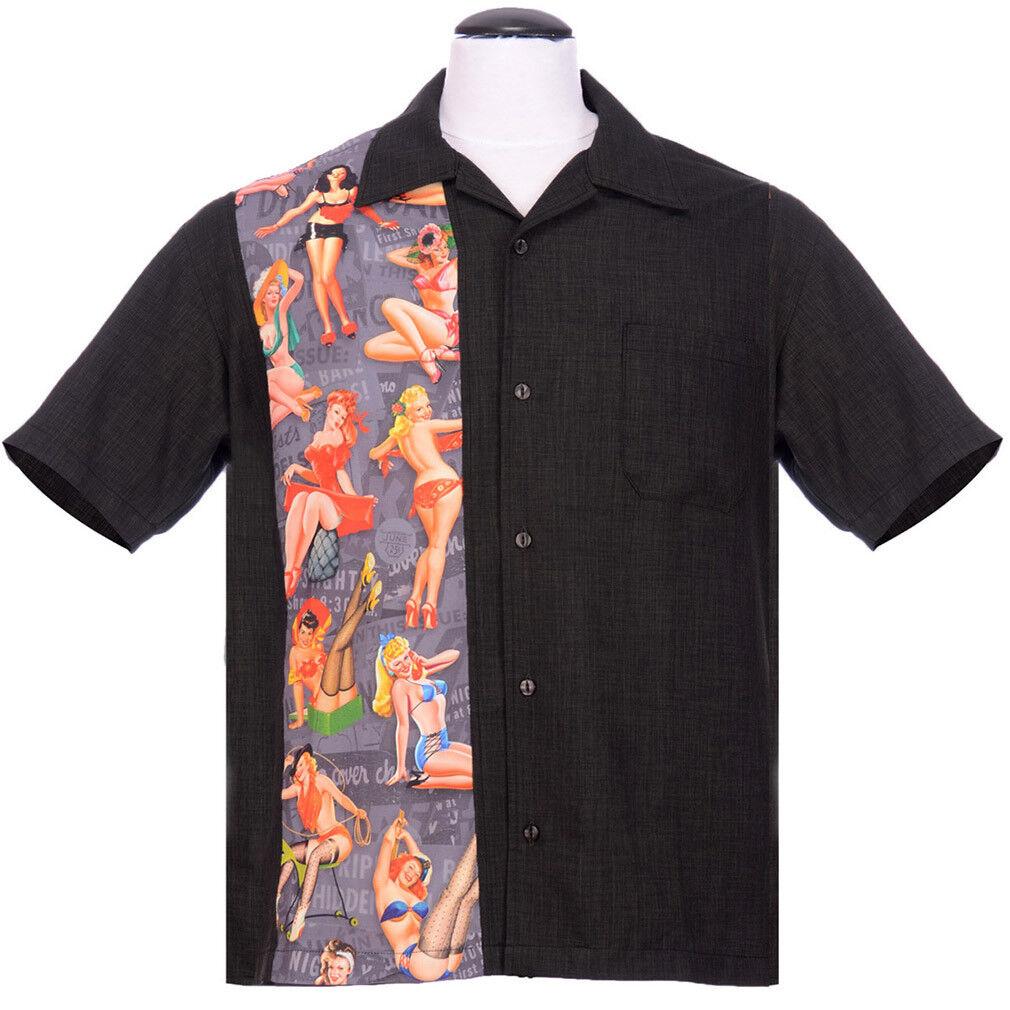 Steady Clothing Vintage Bowling Shirt - Pin-Up Print Panel