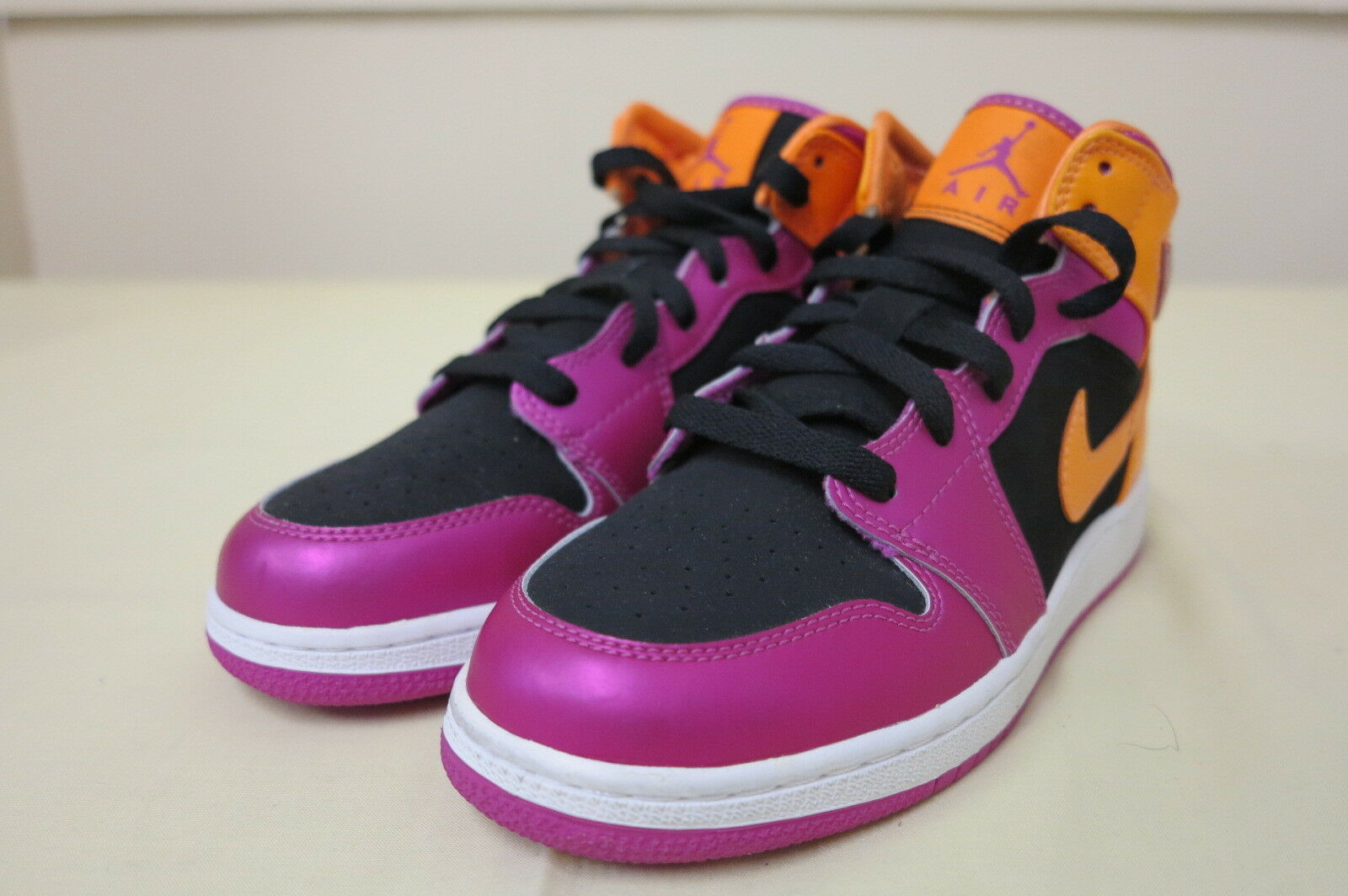 NIKE AIR JORDAN 1 damen GIRLS 4.5Y US UK4 EUR36.5 CM23.5 schwarz Rosa Orange NEW