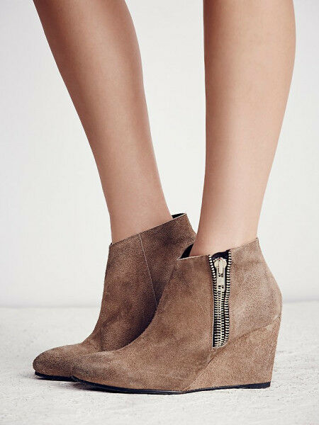 NEW  198 SIZE 40 9 FREE PEOPLE ORLANDA  distressed suede Zip Wedge Ankle Stivali