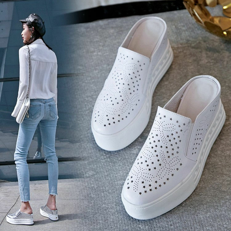 femmes  Platform Wedge Leather Mules  Chaussures  Fashion Sneaker Sandals Oxfords New Y