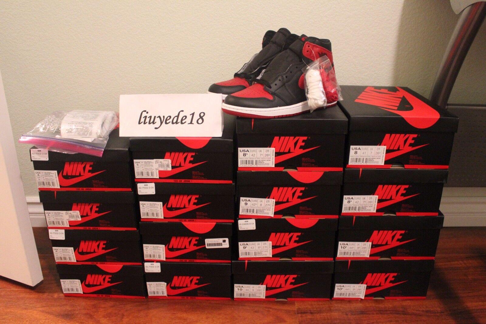 Air Jordan 1 Retro high og bred banned 2018 black red royal blue chicago receipt