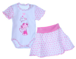 Outfits & Sets Clothing, Shoes & Accessories Body Rock Set Kombi Röckchen Kurzarmbody Baby Sommer 62 68 Weiß Rosa Exquisite Traditional Embroidery Art