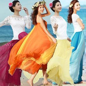 Women-BOHO-Beach-Chiffon-Long-Maxi-Skirts-Asymmetrical-Full-Circle-Party-Dress