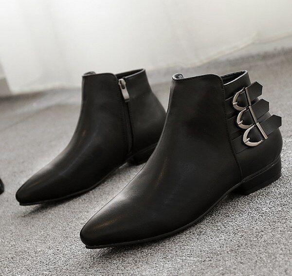 Stivali stivaletti bassi simil scarpe basso 3.5 cm nero eleganti simil bassi pelle 9033 2ac0df
