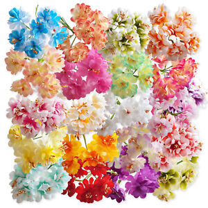 6pcs-Wired-Stem-Artificial-Craft-Flowers-Hair-Garland-Floral-Decoration-Wedding