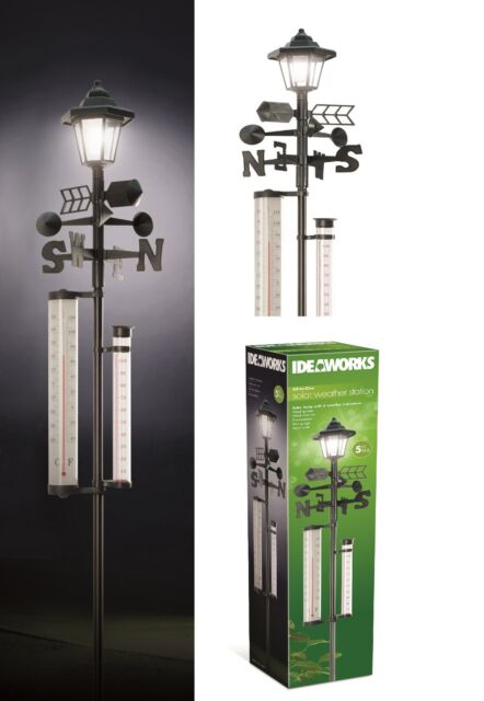 All In 1 Weather Station Solar Lamp Wind Direction Anemometer Rain Temperature