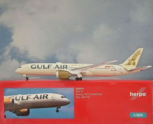 Herpa Wings 1:500  Boeing 787-9  Gulf Air A9C-FA  532976  Modellairport500