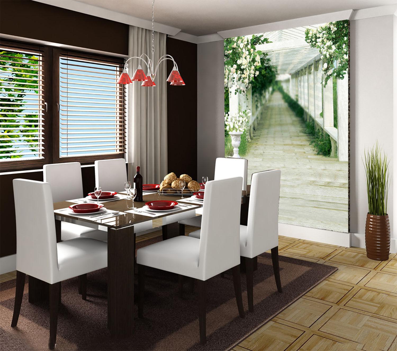 3D Weiße blumen - korridor 44 Fototapeten Wandbild Fototapete BildTapete Familie