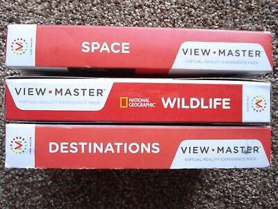 *** Nuovo *** 3 Confezioni, Destinazioni/spazio/fauna Selvatica. View-master Esperienza:-mostra Il Titolo Originale Elegante Nell'Odore