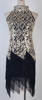1920's Flapper Black Dress Sexy Clubwear Great Gatsby Sequin & Tassel RR 3225