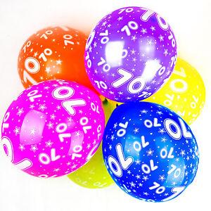 70th-Ballons-Anniversaire-avec-Imprime-chiffres-fete-latex-qualite-Paquet-de