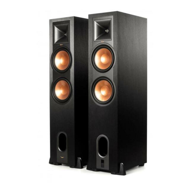 Klipsch R-28PF Powered Floorstanding Speakers, 520W Peak Power, Black, Pair