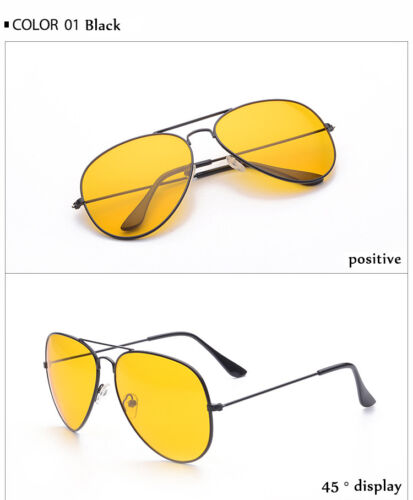 Night Day Vision Driving Yellow Lens Frame Sunglasses Glasses