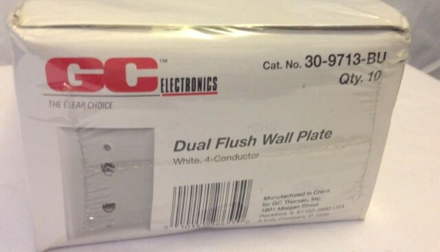 White Phone Jack Dual Flush Wall Plate 6-Conductor Telephone GC 30-8669 New