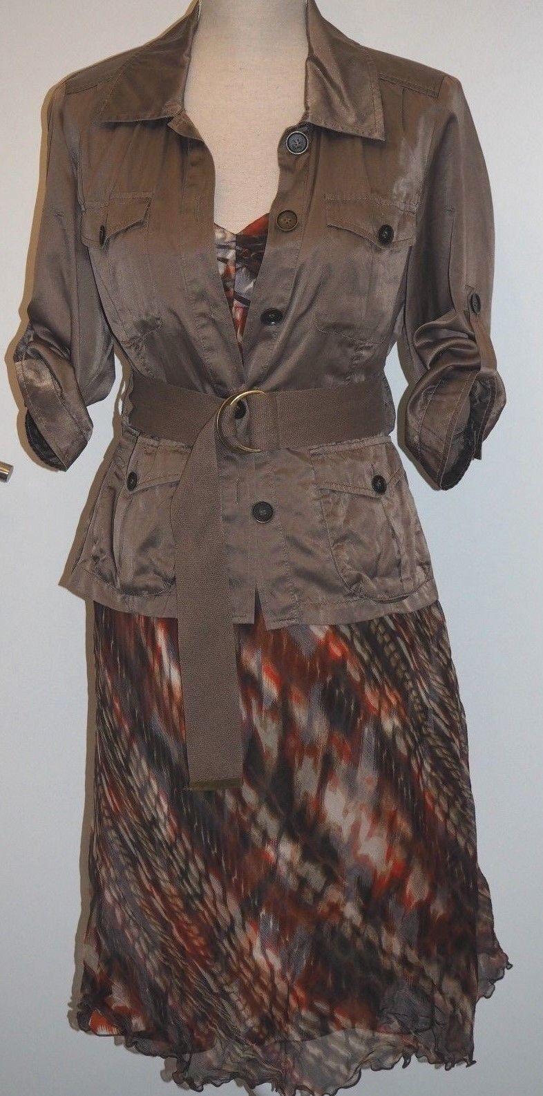 3 Teile  Patrizia Dini by heine, Kleid Seide & passende Jacke & Gürtel, Größe 38