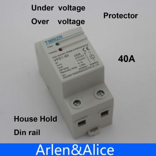1 pcs 40A 230V Din rail automatic recovery reconnect over voltage and under