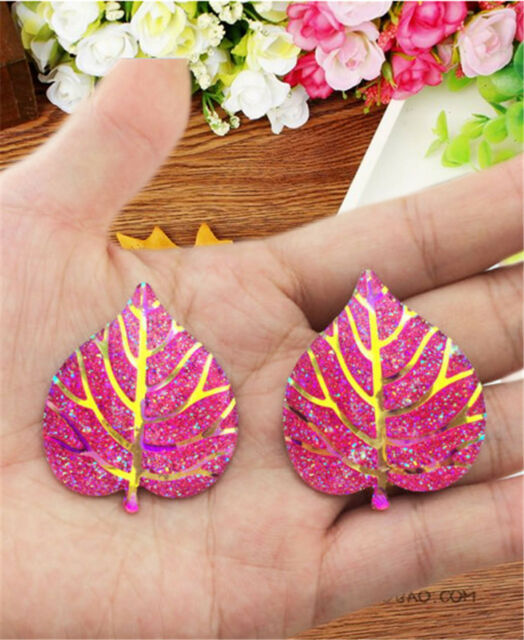 DIY 5PCS heart leaves Resin Flatback Scrapbooking for phone/wedding/craft KM09