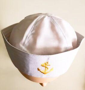 Navy Gob Cap Gilligan Hat Salior Cap Navy Cap Seamans Cap ... 4af7b85ac85