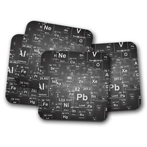 4 Set Periodic Table Coaster Cool Science Elements Chemist